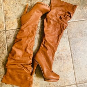 Tan Thigh Boots